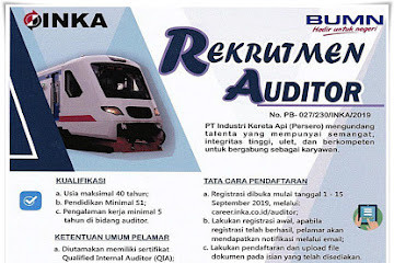 Lowongan Kerja Auditor PT. Inka Persero BUMN