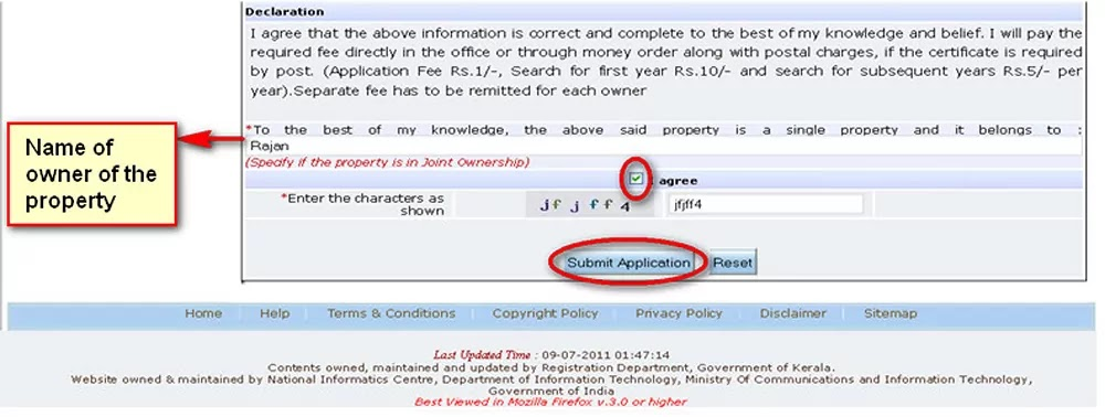 Submit Application for Encumbrance Certificate