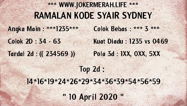 Syair Sidney Jumat 10 April 2020 - Joker Merah Sidney