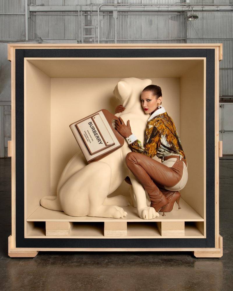 Model Bella Hadid poses for Burberry Pocket bag campaign.