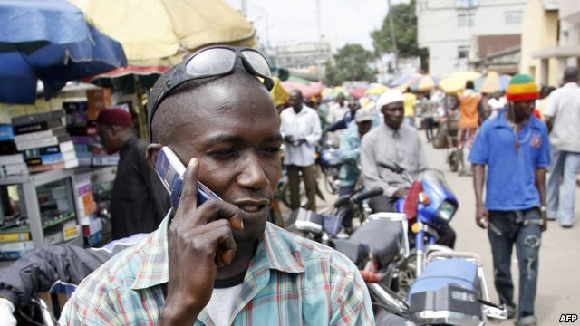 Man making call with mobile phone