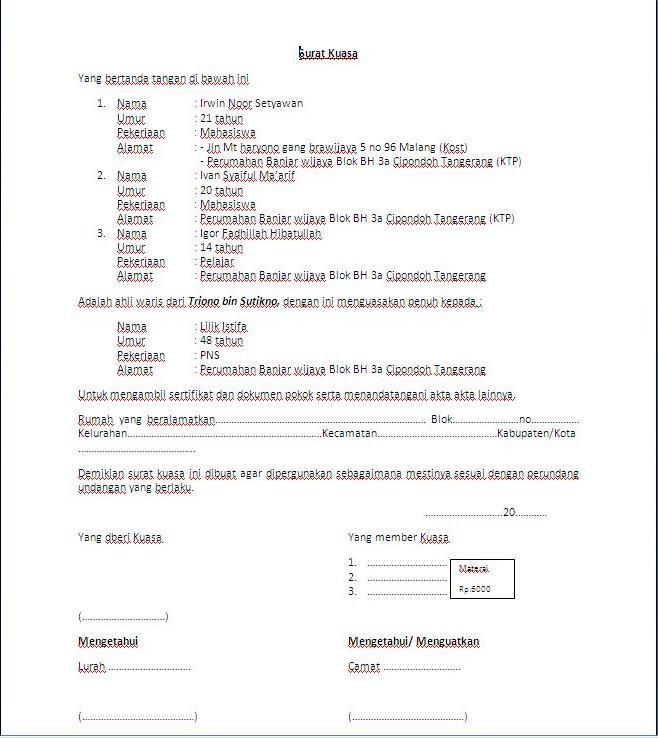 Contoh Surat Ahli Waris Tanah
