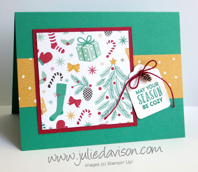 Stampin' Up! Presents & Pinecones Christmas Card with Mini Pincones + Stitched with Cheer Tag www.juliedavison.com
