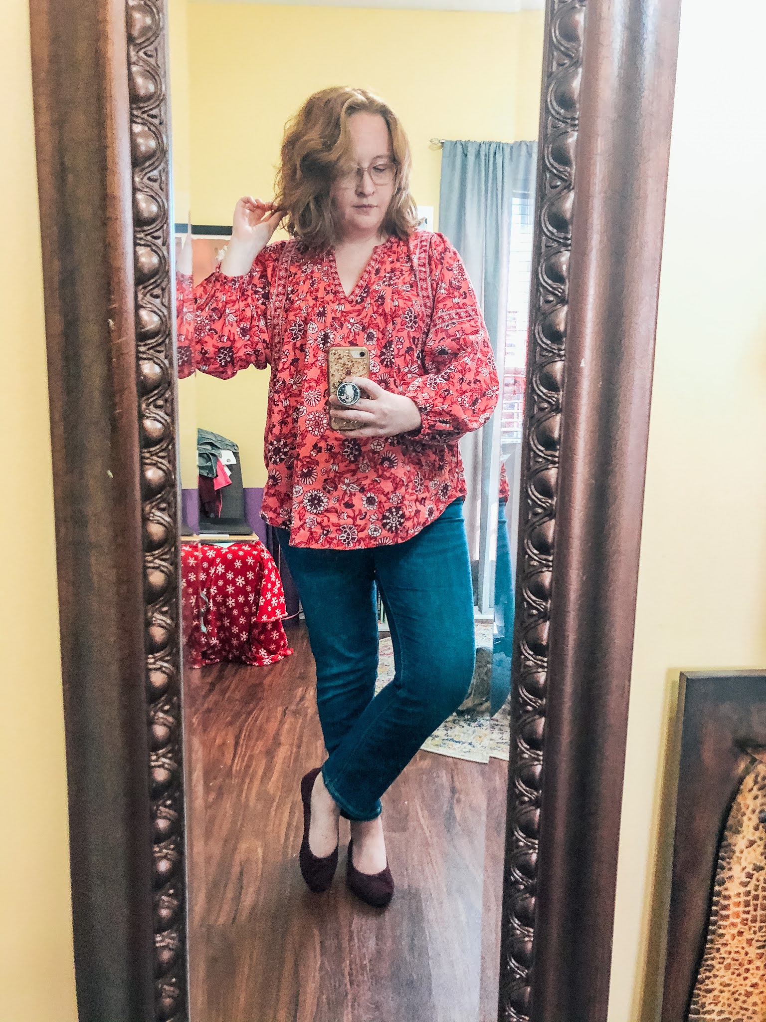 oversized-red-floral-blouse-button-fly-jeans-ballet-flats