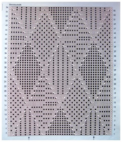 Схема ажурного узора с рельефными ромбами.