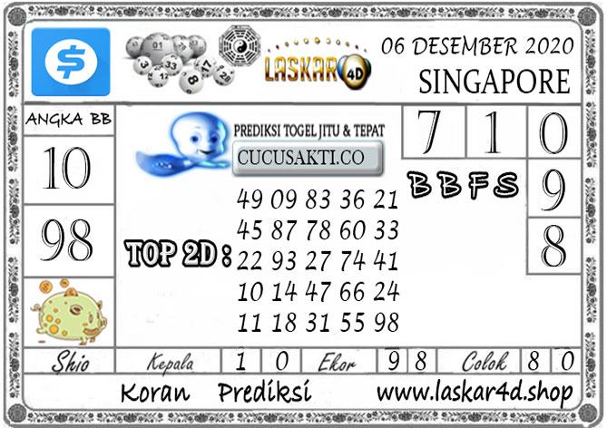 Prediksi Togel SINGAPORE LASKAR4D 06 DESEMBER 2020