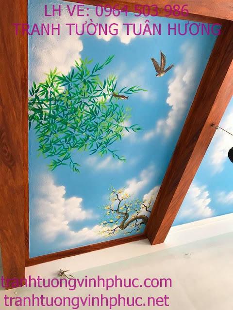 vẽ trần mây 3d tại vĩnh phượng bình xuyên vĩnh phúc3