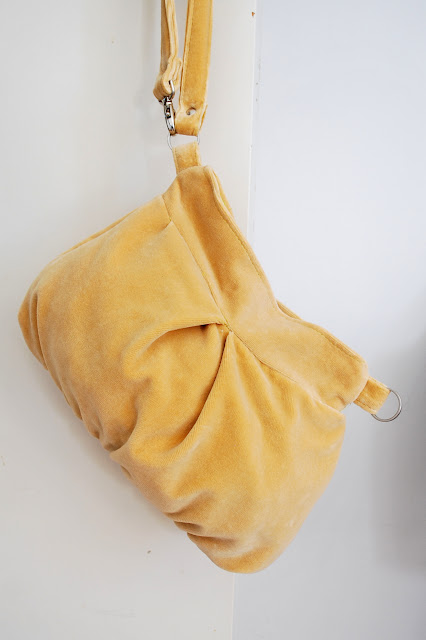 yellow velvet clutch