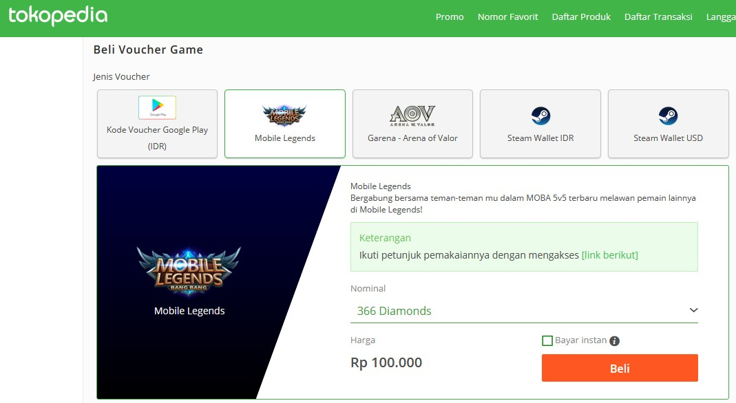 Cara Isi Diamond Mobile Legends Via Tokopedia Irumira