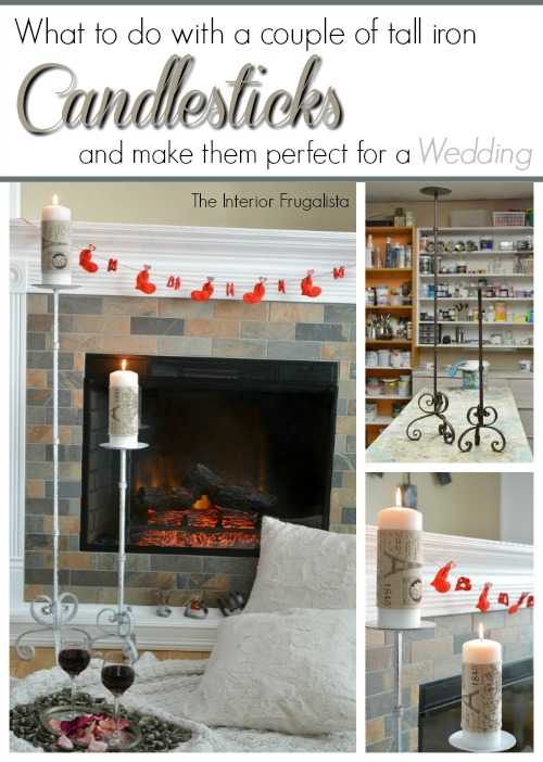 Tall Iron Candlestick Makeover for a wedding