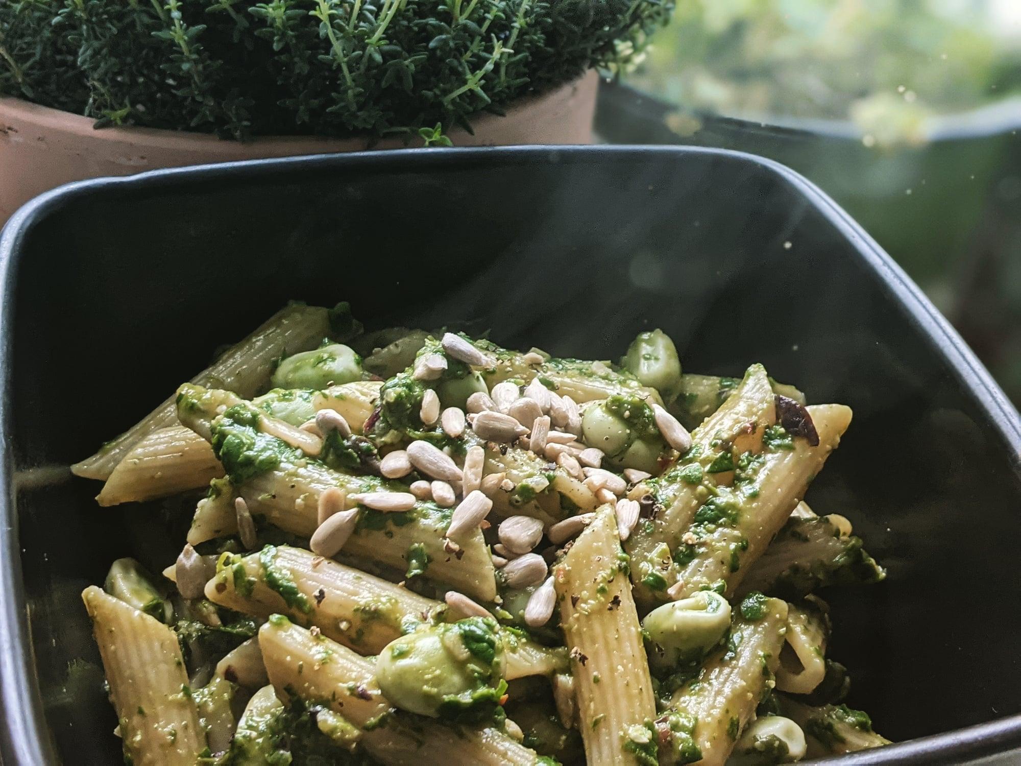 Vegan pesto pasta doodleheart.co.uk littlepackofvegans
