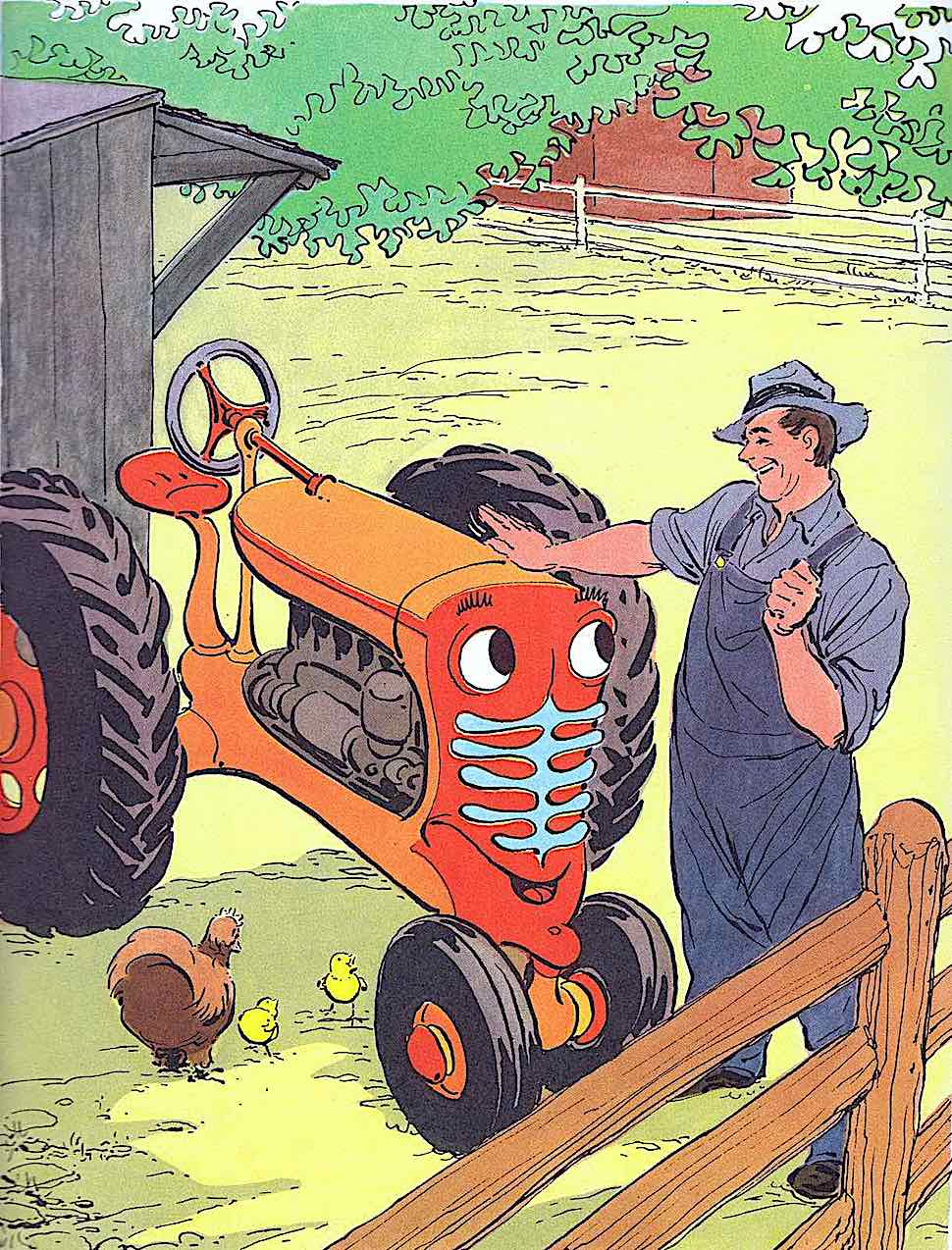 a good little tractor in a Paul Pinson children's book illustration