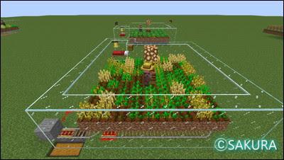 Minecraft 農民を使った自動畑 ホッパー付きトロッコで回収する仕組み