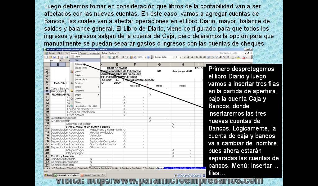 Agregar cuentas de cheques en plantilla contable en excel ~ Software ...