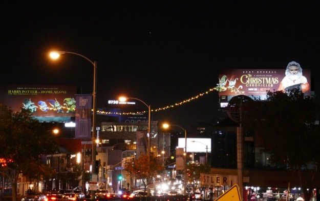 Christmas Chronicles lights billboards Sunset Strip