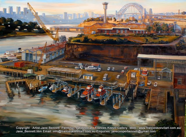 plein air oil painting of the Water Police site from the CSR Refinery before the construction of Jacksons Landing by industrial heritage artist Jane Bennett