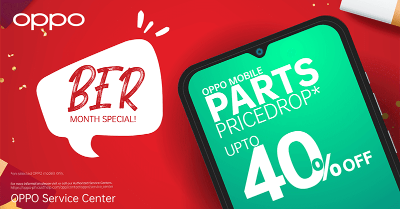 OPPO Service Centers offers 40 percent off on select service parts