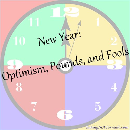 Optimism, Pounds, and Fools | Graphic designed by and property of www.BakingInATornado.com | #MyGraphics #humor