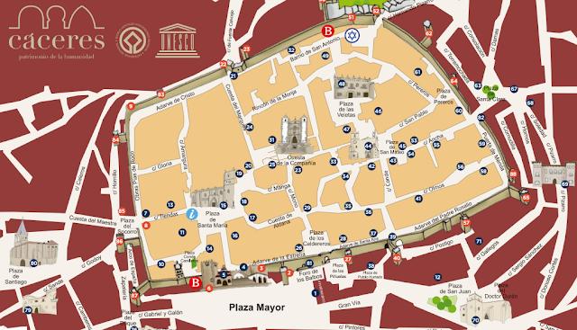 mapa de Cáceres, casco antiguo