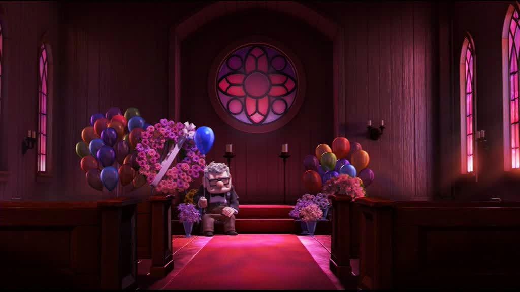Mr Frederiksen, seul à l'enterrement d'Ellie dans Là-Haut, des studios Pixar (2009)