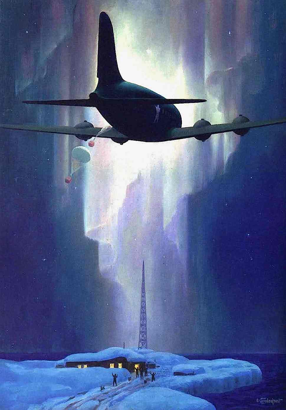 an Alexander Leydenfrost illustration of a military supply plane in the arctic with northern lights