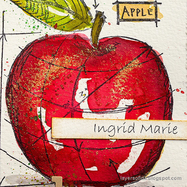 Layers of ink - Watercolor Apples Art Journal Tutorial by Anna-Karin Evaldsson. Ingrid Marie apple.
