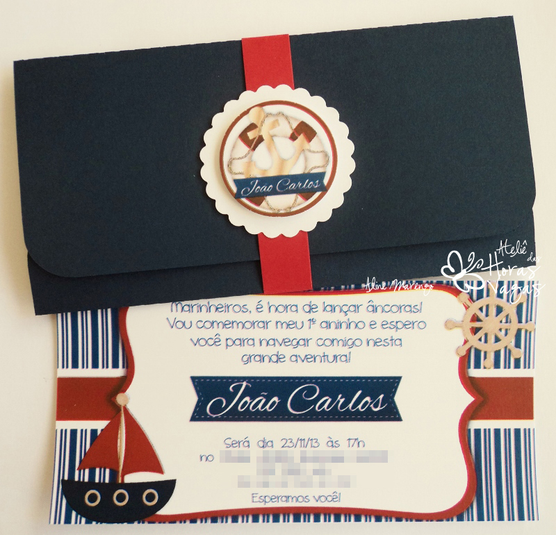 convite artesanal infantil aniversário 1 ano menino marinheiro navio âncora azul marinho