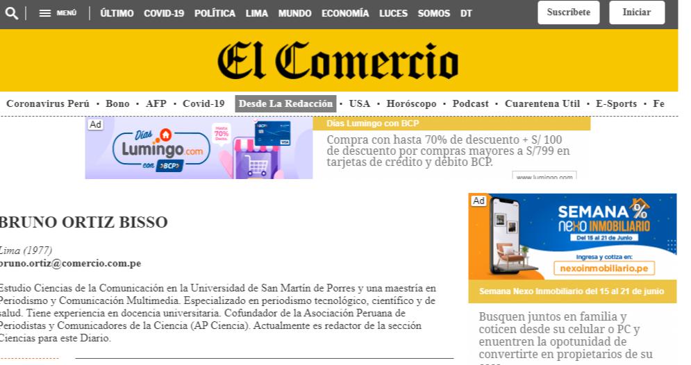 Periodista Ortiz Bisso trabajador del GRUPO EL COMERCIO.