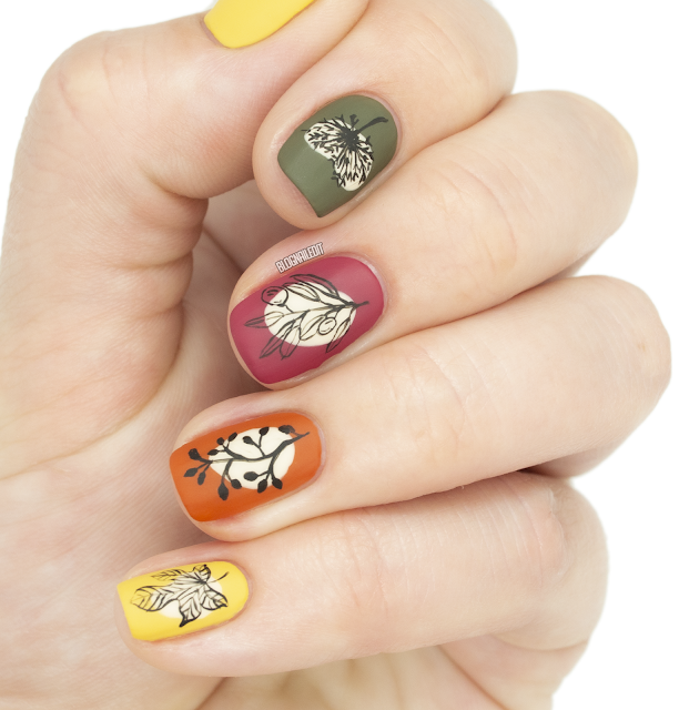 matte fall botanical nail art