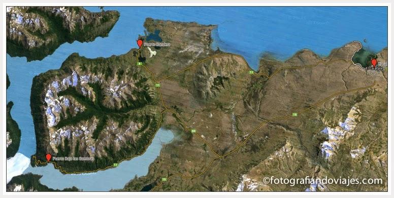 puertos cerca glaciar Perito Moreno