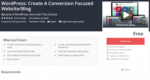 [100% Free] WordPress: Create A Conversion Focused Website/Blog