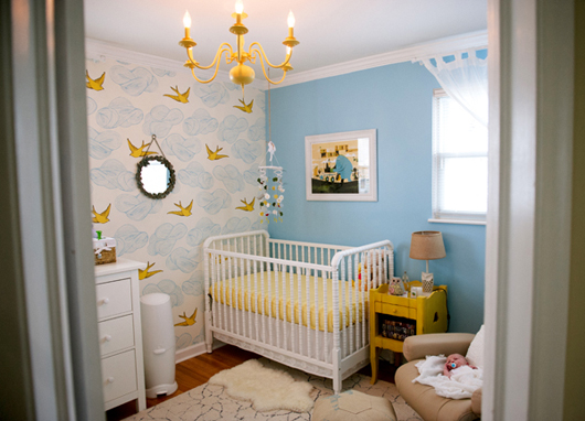 How Cheery And Sweet Is This Blue Yellow Nursery Designed By Kim Of Senn Sons I Love All The Details Especially Chandelier Hygge