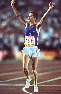 Alberto Cova in his moment of triumph at the 1984 Olympics in Los Angeles