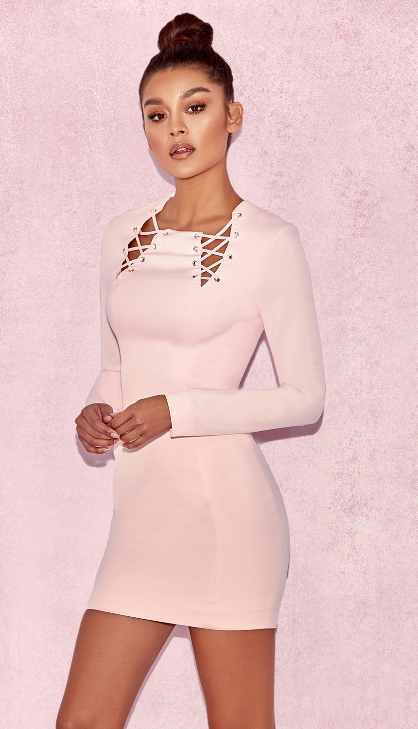 HOUSE OF CB 'RAINA' BABY PINK LACE UP DRESS