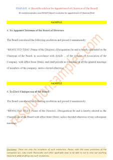 board resolution for appointment of chairman under companies act 2013