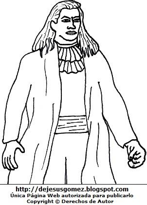 Imagen de Túpac Amaru II sin sombrero para colorear o pintar. Dibujo de Túpac Amaru II de Jesus Gómez