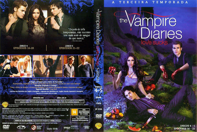 Capa DVD The Vampire Diaries Terceira Temporada Discos 4 a 5 (Oficial)