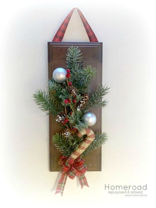 DIY Cabinet Door Christmas Wreath