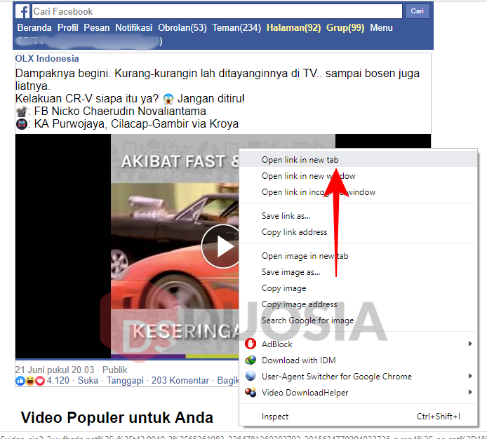 download video di facebook orang lain