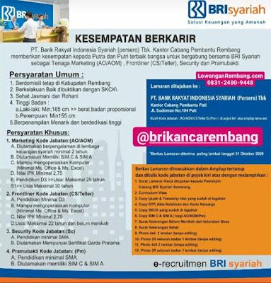 Lowongan Kerja Marketing Frontliner Security Dan Pramubakti PT Bnk Rakyat Indonesia Syariah Kantor Cabang Pembantu Rembang