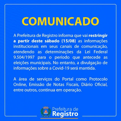 Prefeitura  de Registro-SP restringe comunicação no período eleitoral