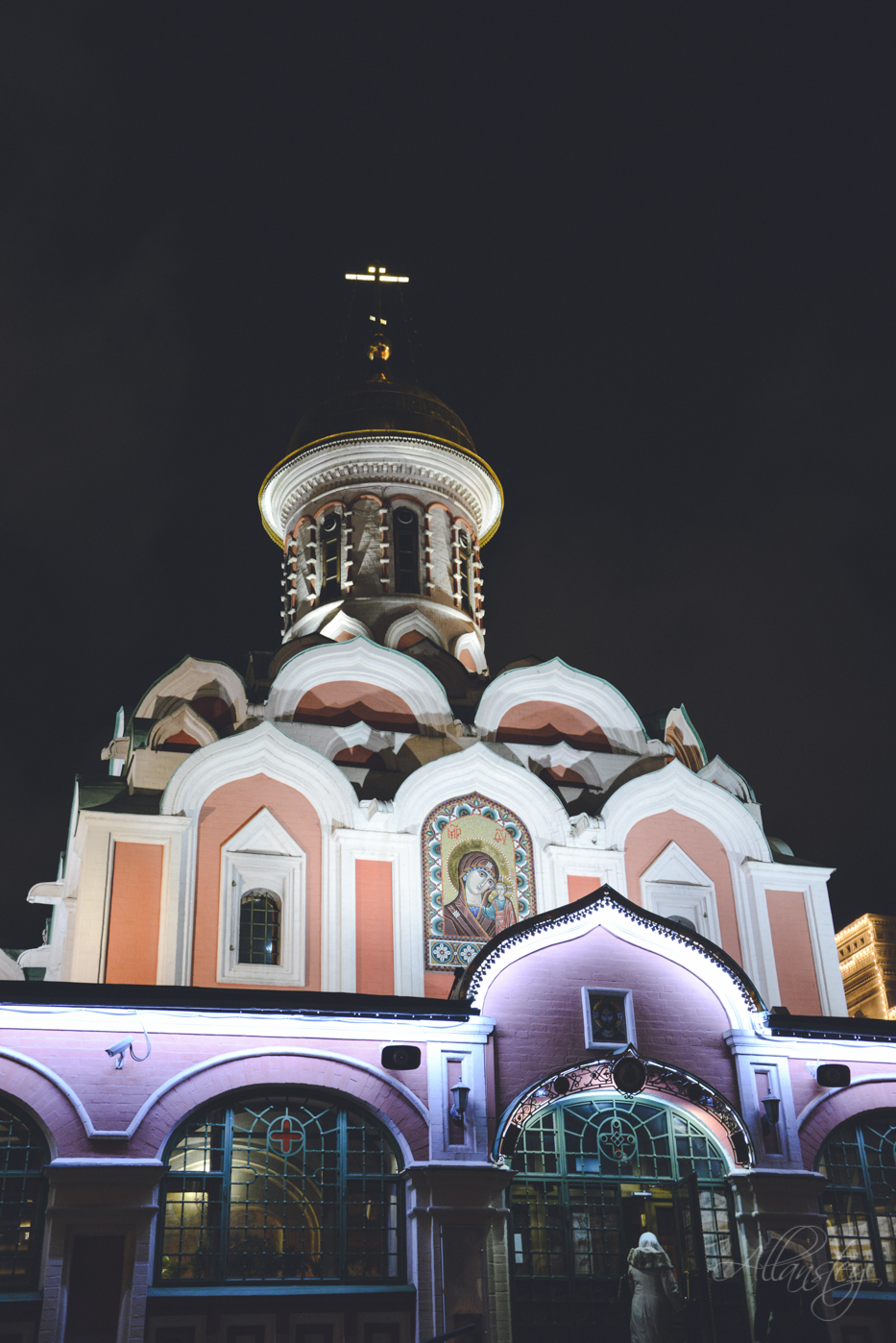 Beautiful Kazan Cathedral or Cathedral of Our Lady of Kazan illuminated at night