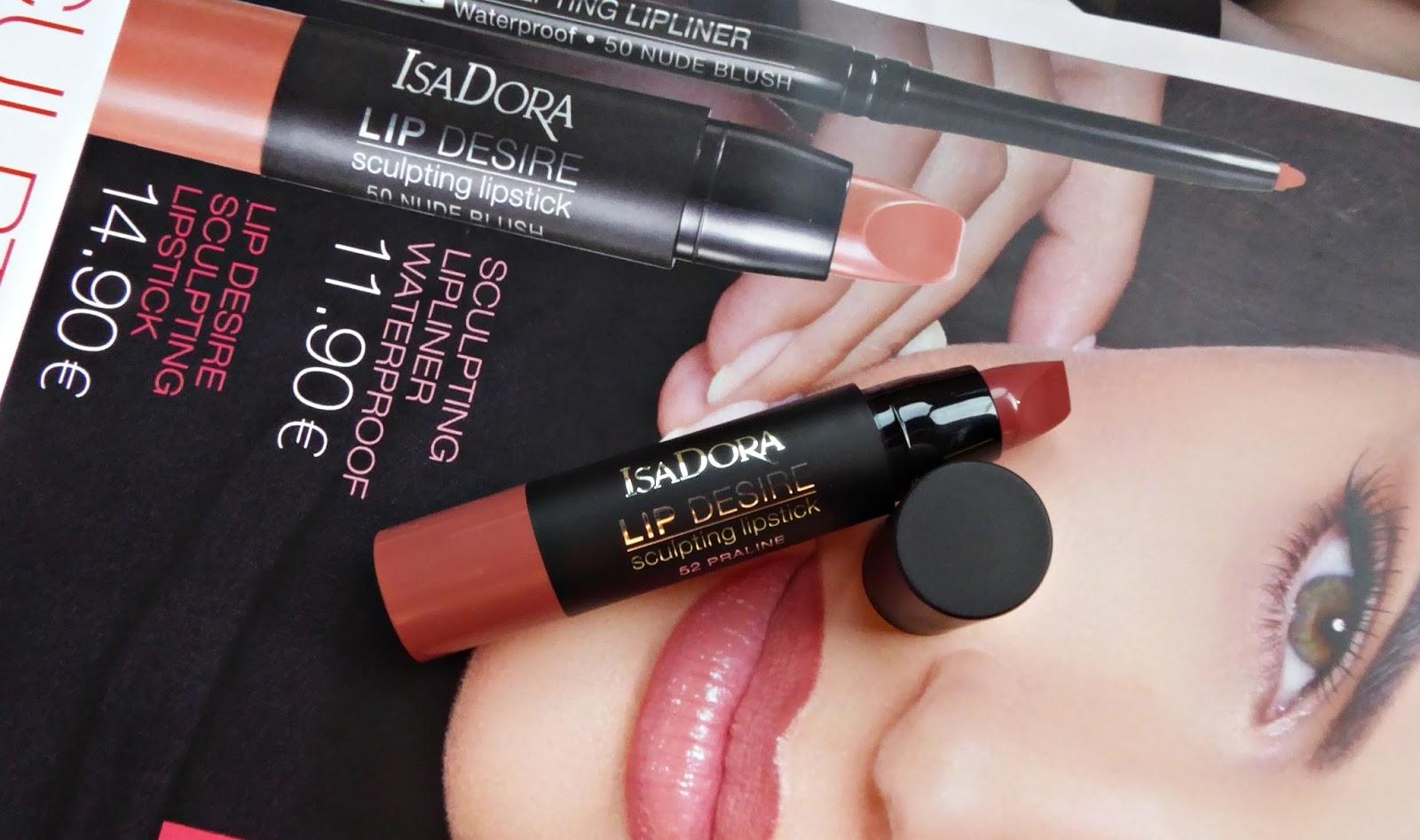 Lip Desire y Sculpting lip liner de Isadora. Praliné.