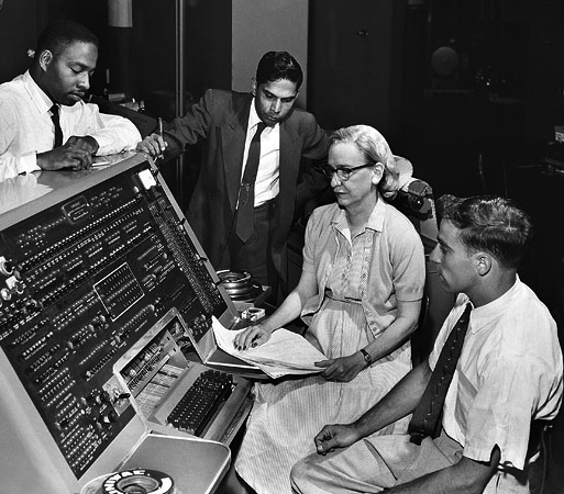 Grace Hopper working on a UNIVAC I console