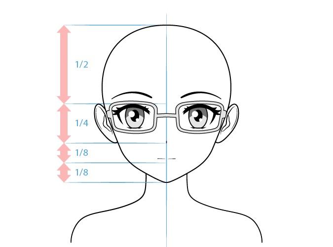 Anime kutu buku gambar wajah karakter perempuan
