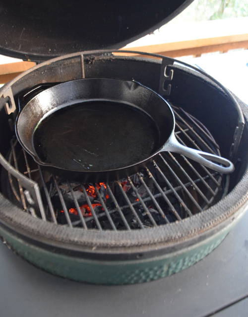 A basic, cast-iron skillet is a must have accessory for the serious griller.