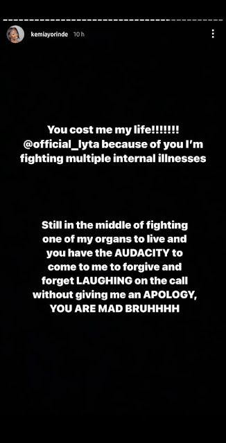 Because of you, I'm fighting multiple internal illnesses and I will never Forgive You– Singer, Lyta's babymama Blows out at Lyta
