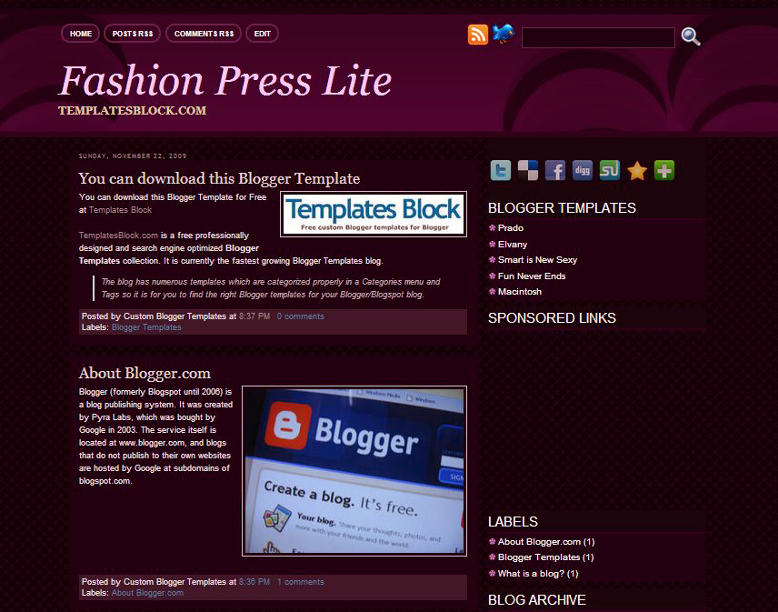 Sexy blogger templates free