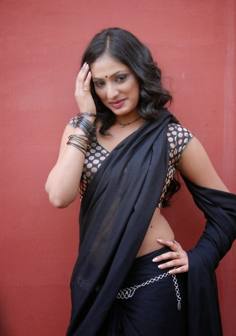 Actress Haripriya Unseen Cute Hot Transparent Black Saree Navel Show Spicy Photos Gallery