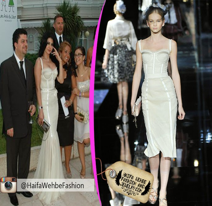 ac26553472a45 Haifa Wehbe Wearing Off-White Buster Dress by Dolce and Gabbana